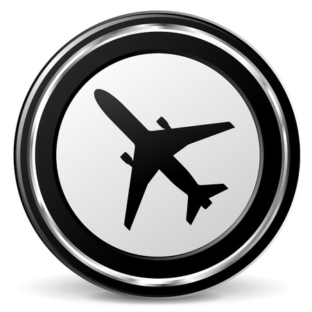 alu: illustration of black and chrome airplane icon