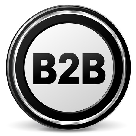 illustration of black and chrome b2b icon