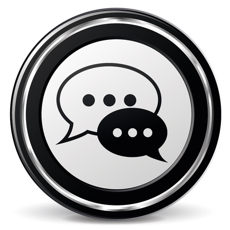 illustration of black and chrome chat icon