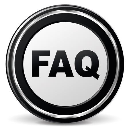 faq icon: ilustraci�n del icono faq negro y cromado Vectores