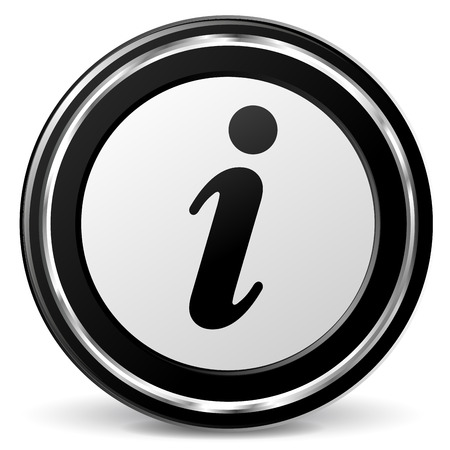 alu: illustration of black and chrome info icon on white background Illustration