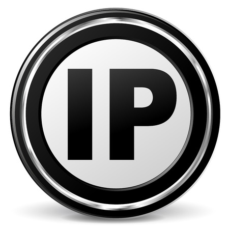 illustration of black and chrome ip address, icon