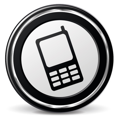 alu: illustration of black and chrome mobile phone icon Illustration