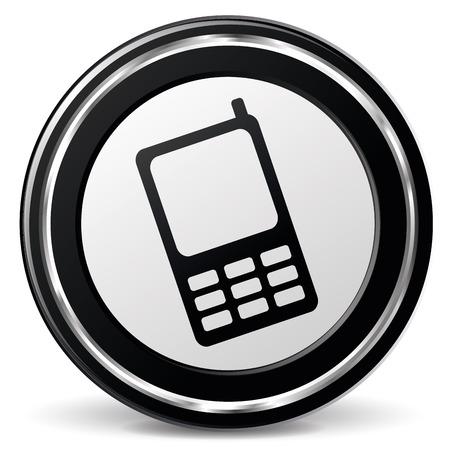 illustration of black and chrome mobile phone icon Illustration