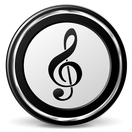 alu: illustration of black and chrome music icon Illustration