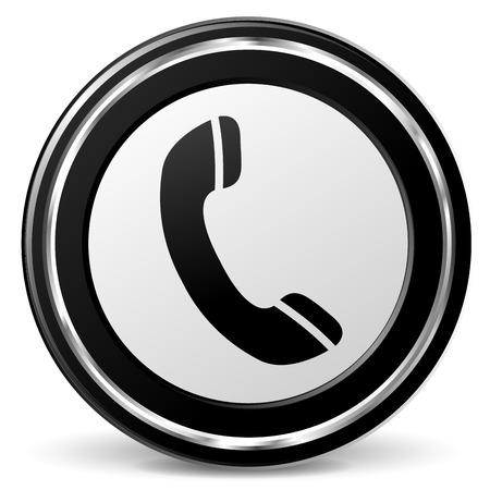 illustration of black and chrome phone icon