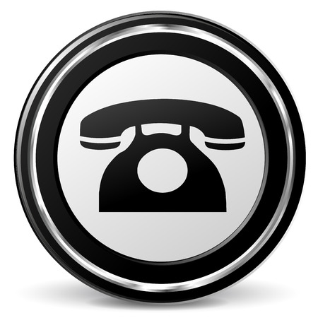 alu: illustration of black and chrome old phone icon Illustration