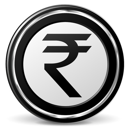alu: illustration of black and chrome rupee icon Illustration