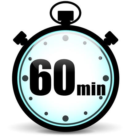 illustration of sixty minutes stopwatch icon on white background Illustration