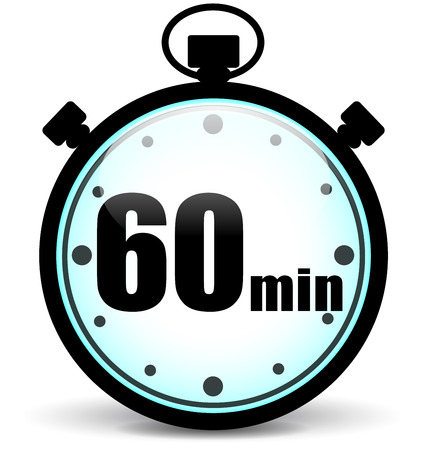 illustration of sixty minutes stopwatch icon on white background Vectores