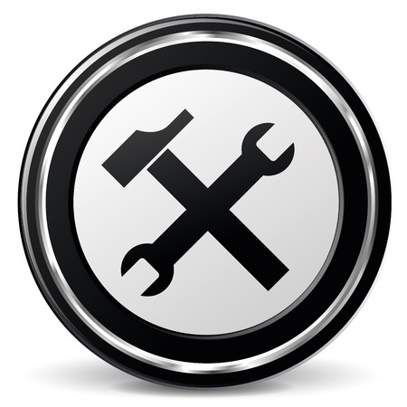illustration of black and chrome technical support icon
