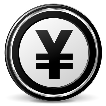 alu: illustration of black and chrome yen icon