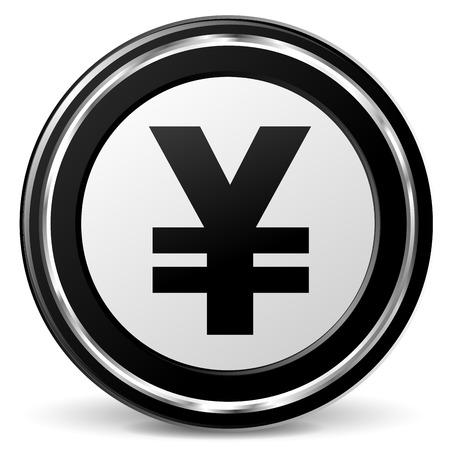 illustration of black and chrome yen icon