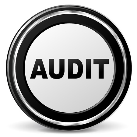 Vector illustration of black and chrome audit icon