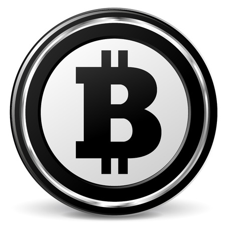 alu: Vector illustration of black and chrome bitcoin icon