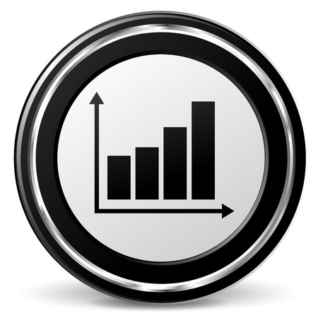 Vector illustration of black and chrome graph icon