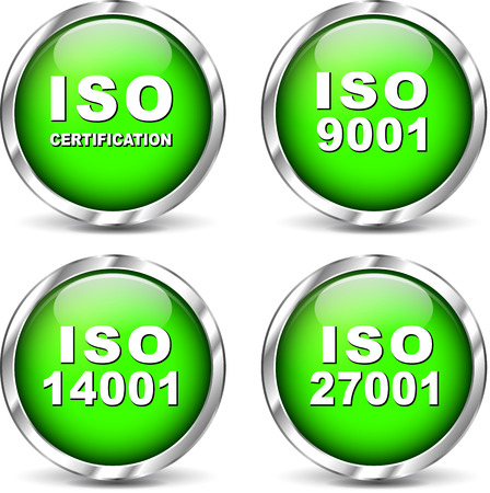 norm: Vector illustration of green set iso certification icons