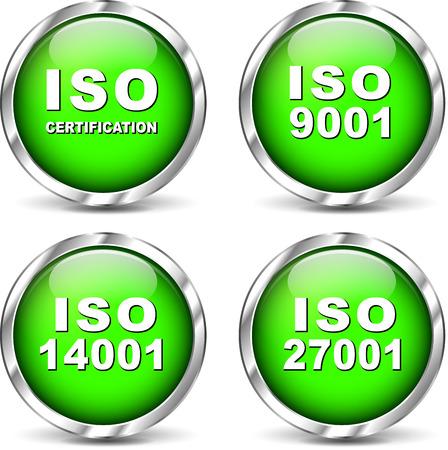 zertifizierung: Vektor-Illustration der gr�nen Satz ISO-Zertifizierung Symbole