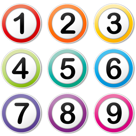 Vector illustration of colorful numbers set icon 矢量图像