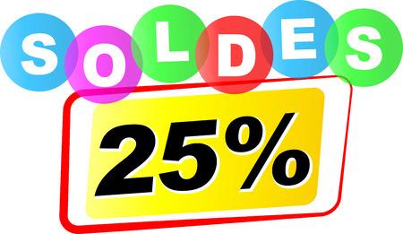 twenty five: Vector illustration of twenty five percent sale icon on white background Illustration