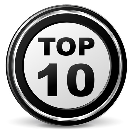 alu: Vector illustration of black and chrome top ten icon