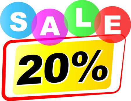 twenty: Vector illustration of twenty sale icon on white background
