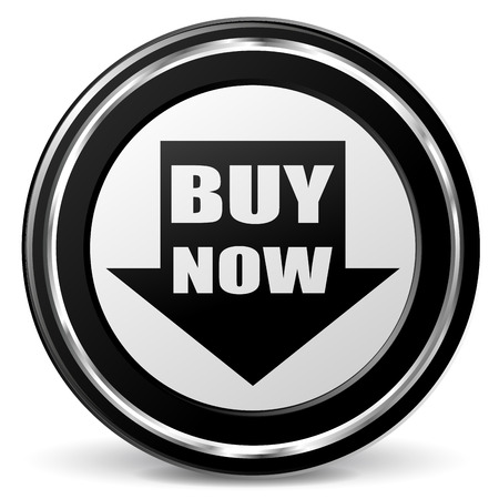 Vector illustration of black and chrome buy now icon