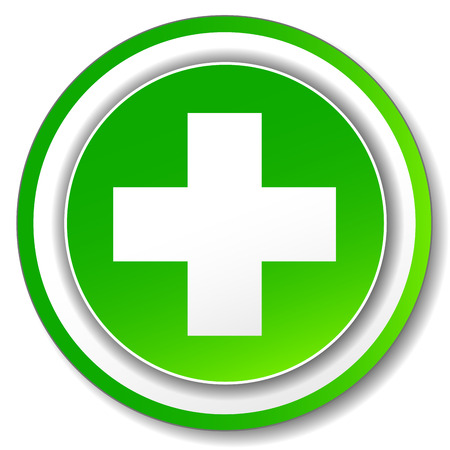 Vector green cross icon on white background