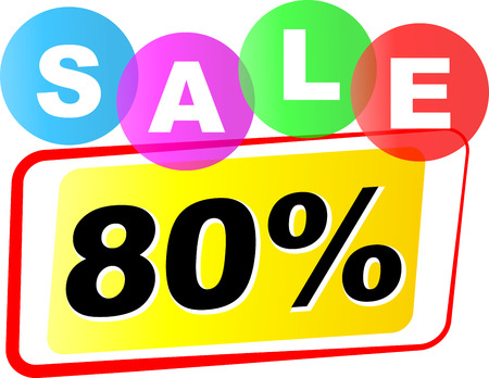 ochenta: Vector illustration of eighty sale icon on white background