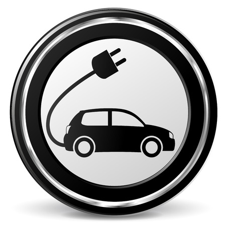 Vector illustration of black and chrome electric car icon