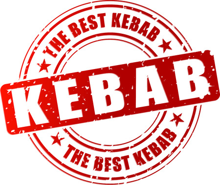 Vector illustration of best kebab red stamp concept Çizim