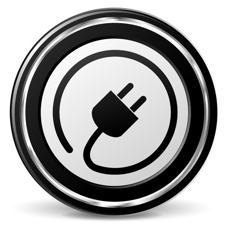 alu: Vector illustration of black and chrome plug icon