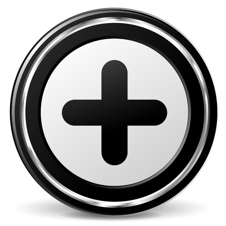 alu: Vector illustration of black and chrome plus icon