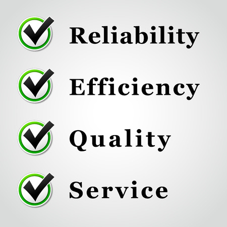 characteristics: Vector illustration of service,quality,reliability and efficiency