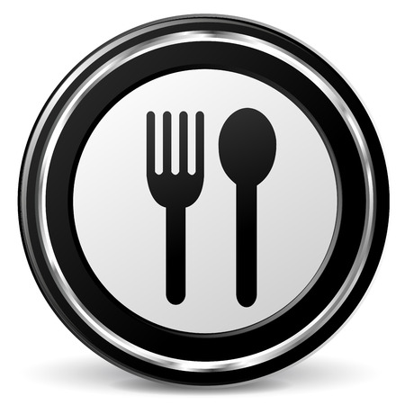 alu: Vector illustration of black and chrome restaurant icon Illustration