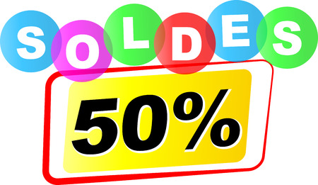 fifty: Vector illustration of fifty percent sale icon on white background