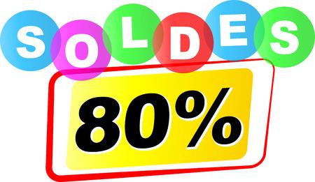 ochenta: Ilustraci�n vectorial de un ochenta por ciento icono de la venta en el fondo blanco