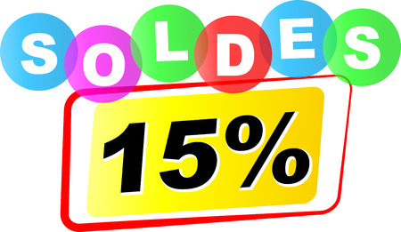 fifteen: Vector illustration of fifteen percent sale icon on white background