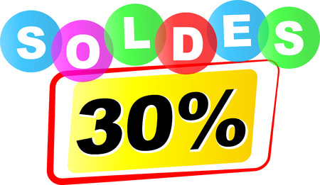 thirty: Vector illustration of thirty percent sale icon on white background