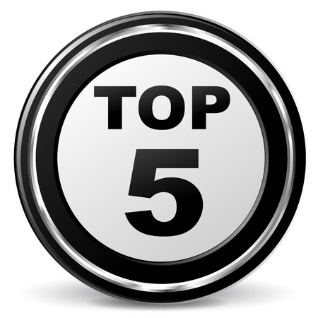 Vector illustration of black and chrome top five icon Иллюстрация