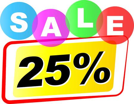 twenty five: Vector illustration of twenty five sale icon on white background