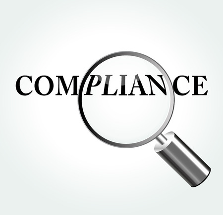 Vector illustration of compliance concept with magnifying