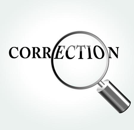 Vector illustratie van de correctie concept met vergrootglas