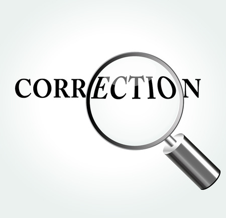 correction: Vector illustration of correction concept with magnifying