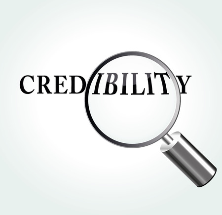 Vector illustration of credibility concept with magnifying