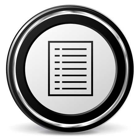 Vector illustration of chrome and black document icon