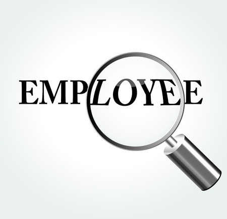 knowledgeable: Vector illustration of employee concept with magnifying