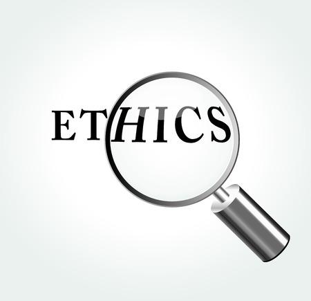 valores morales: Ilustraci�n del vector del concepto de la �tica con la lupa