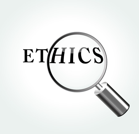 truthfulness: Vector illustration of ethics concept with magnifying