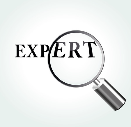 Vector illustration of expert concept with magnifying Illustration